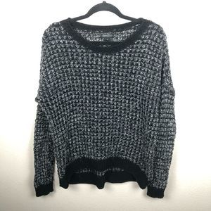Madewell black open knit sweater long sleeve